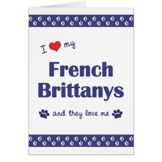 I Love My French Brittanys (Multiple Dogs) Card
