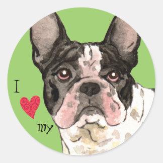 I Love my French Bulldog Classic Round Sticker