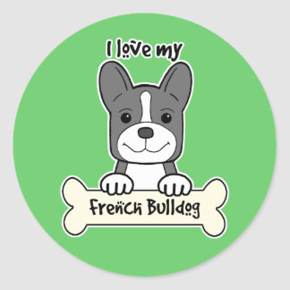 I Love My French Bulldog Classic Round Sticker