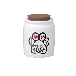 I Love My French Bulldog Dog Candy Jar