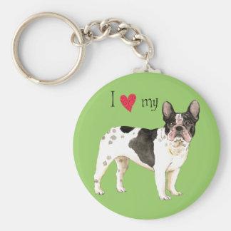 I Love my French Bulldog Keychain
