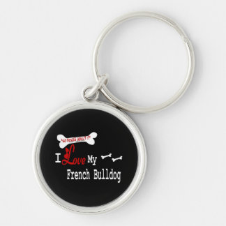 I Love My French Bulldog Keychain