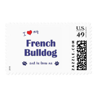 I Love My French Bulldog (Male Dog) Stamps