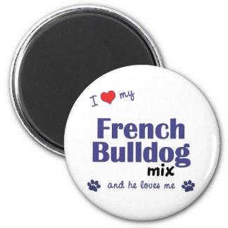I Love My French Bulldog Mix (Male Dog) 2 Inch Round Magnet