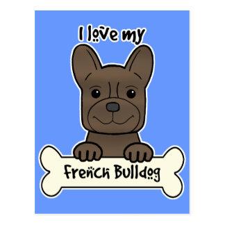 I Love My French Bulldog Postcard