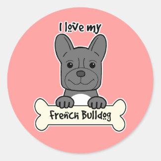 I Love My French Bulldog Stickers