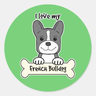 I Love My French Bulldog Round Stickers