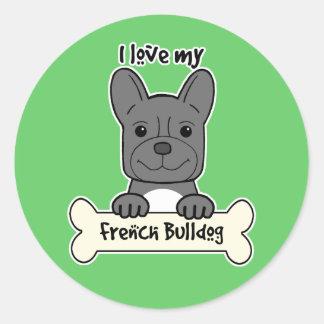 I Love My French Bulldog Round Sticker