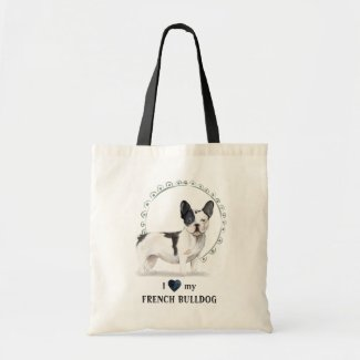 I Love My French Bulldog Watercolor Tote Bag