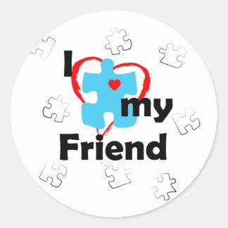 I Love My Friend - Autism Classic Round Sticker