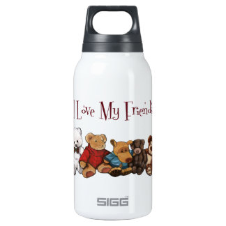 I Love My Friends: Teddy Bears, Animals, Toys Insulated Water Bottle