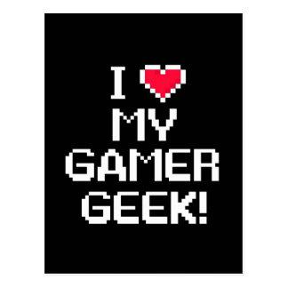 I Love My Gamer Geek Postcard