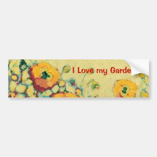 I Love my Garden Poppy Bumper Sticker Car Bumper Sticker