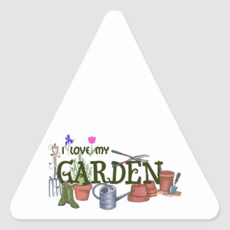 I Love My Garden Triangle Stickers