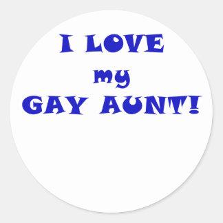 I Love my Gay Aunt Classic Round Sticker