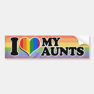I LOVE MY GAY AUNTS --.png Car Bumper Sticker