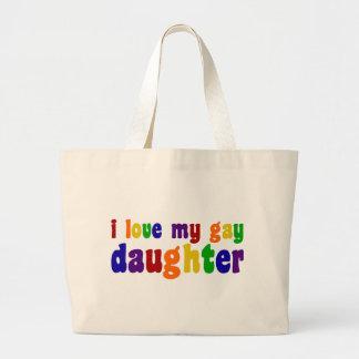 I Love My Gay Daughter Large Tote Bag
