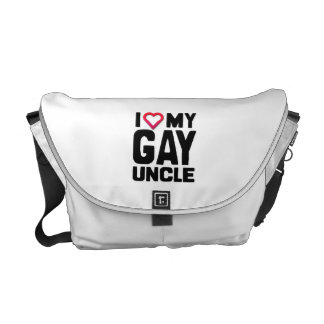 I LOVE MY GAY UNCLE -.png Messenger Bags