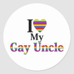 I Love My Gay Uncle Round Stickers