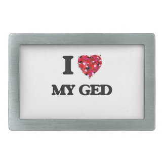 I Love My Ged Rectangular Belt Buckles