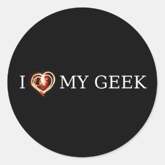 I LOVE MY GEEK CLASSIC ROUND STICKER