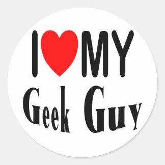 I Love My Geek Guy Classic Round Sticker