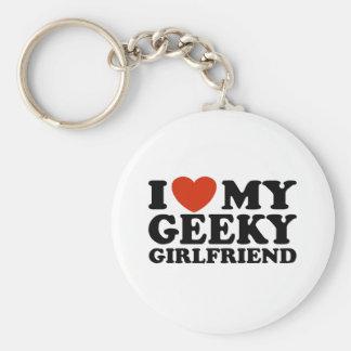 I Love My Geeky Girlfriend Basic Round Button Keychain