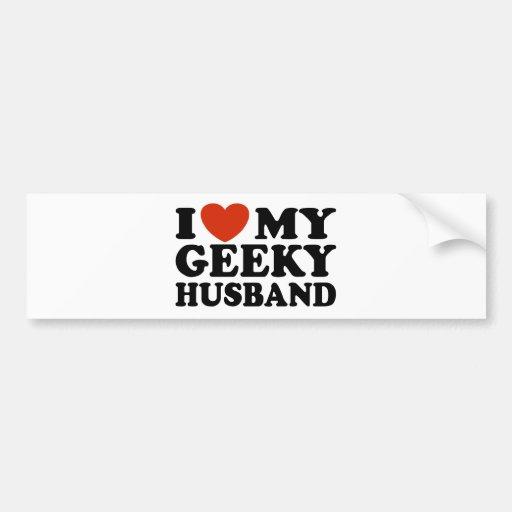 I Love My Geeky Husband Car Bumper Sticker