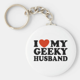 I Love My Geeky Husband Keychain