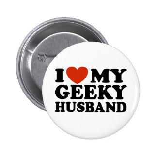 I Love My Geeky Husband Pinback Button