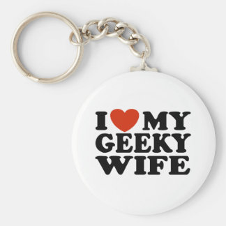 I Love My Geeky Wife Keychain