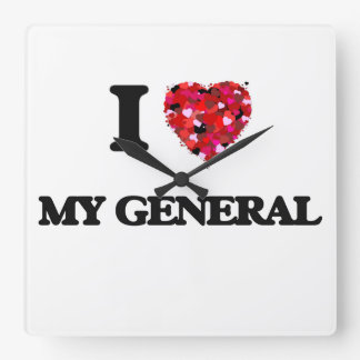 I Love My General Square Wallclock