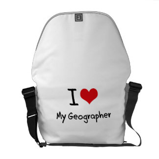 I Love My Geographer Messenger Bags