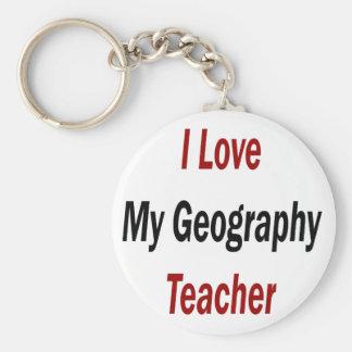 I Love My Geography Teacher Keychain