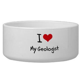 I Love My Geologist Pet Food Bowls