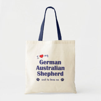 I Love My German Australian Shepherd (Male Dog) Budget Tote Bag