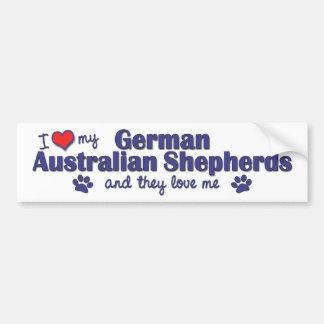 I Love My German Australian Shepherds (Multi Dogs) Bumper Sticker
