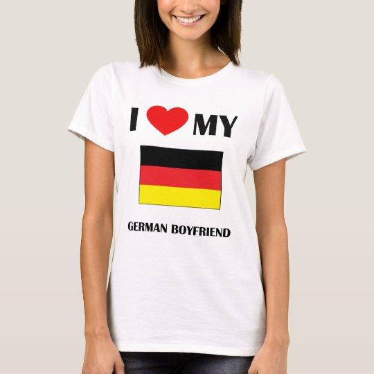 I Love My German Boyfriend Ladies Baby Doll T-Shirt
