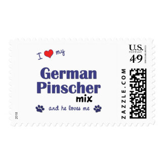 I Love My German Pinscher Mix (Male Dog) Postage Stamps