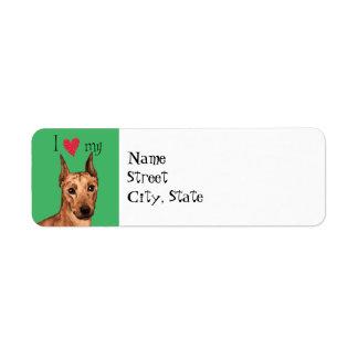 I Love my German Pinscher Return Address Label