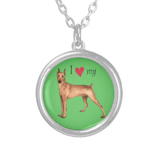 I Love my German Pinscher Silver Plated Necklace