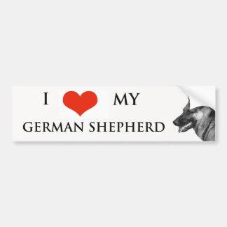 I LOVE MY GERMAN SHEPHERD BUMPER STICKER