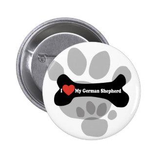 I Love My German shepherd - Dog Bone Pin