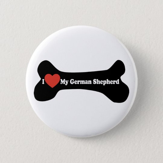 I Love My German shepherd - Dog Bone Pinback Button
