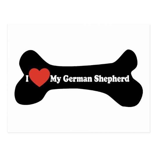 I Love My German shepherd - Dog Bone Postcard