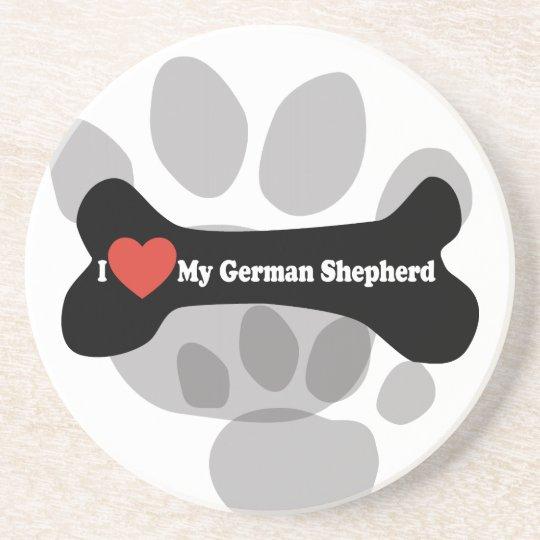 I Love My German shepherd - Dog Bone Sandstone Coaster