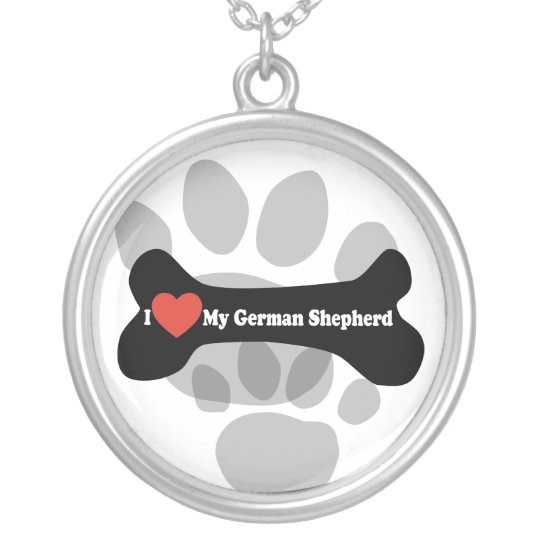 I Love My German shepherd - Dog Bone Silver Plated Necklace