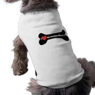 I Love My German shepherd - Dog Bone Tee