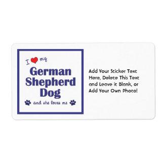I Love My German Shepherd Dog (Female Dog) Label