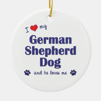 I Love My German Shepherd Dog (Male Dog) Double-Sided Ceramic Round Christmas Ornament